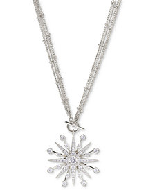 "Eliot Danori Silver-Plated Cubic Zirconia Star 16"" Pendant Necklace, Created for Macy's"