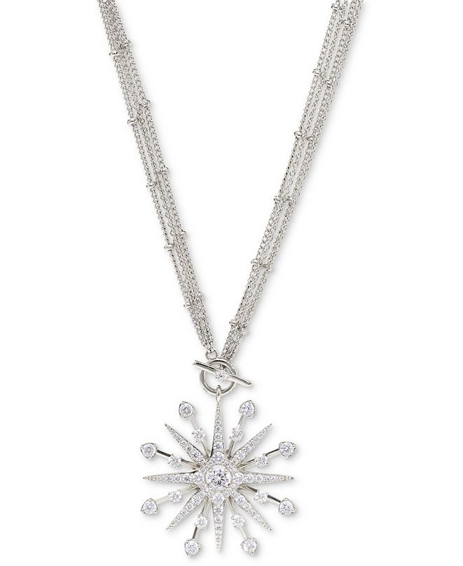 """Eliot Danori Silver-Plated Cubic Zirconia Star 16"""" Pendant Necklace, Created for Macy's"""