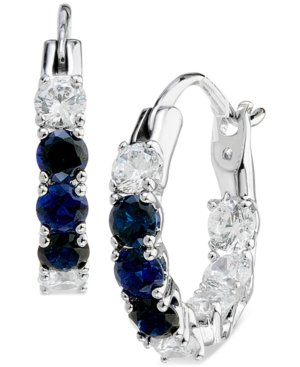 Silver-Tone Small Cubic Zirconia Hoop Earrings