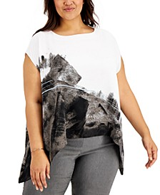 Plus Size Printed Flowy Top, Created for Macy's