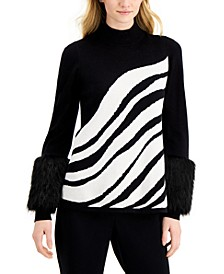 Faux-Fur-Cuff Printed Sweater, Created for Macy's