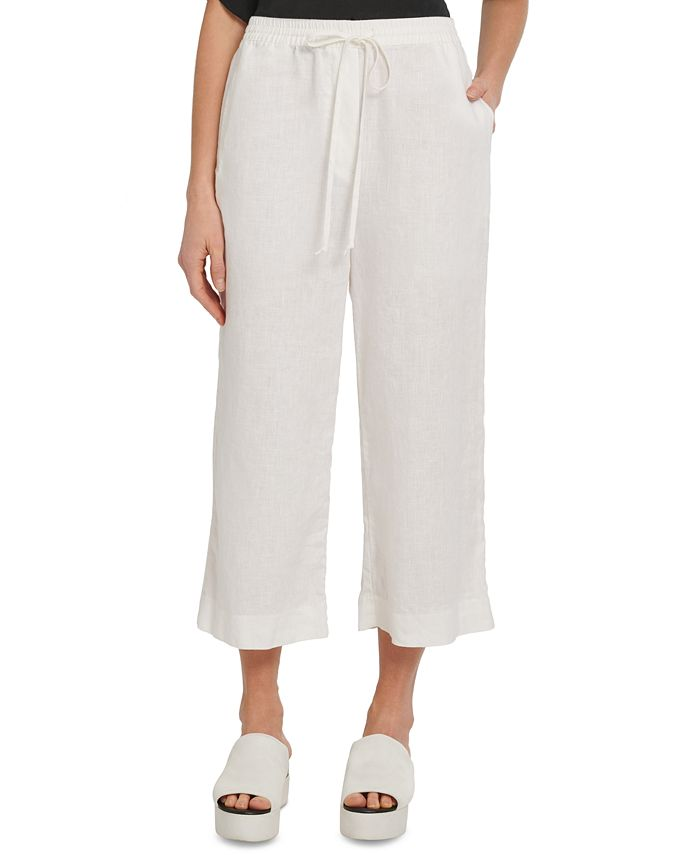 DKNY - Drawstring Wide-Leg Cropped Linen Pants