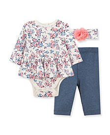 Baby Girls Floral Bodysuit Pant Set