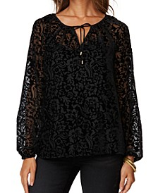 Flocked Split-Neck Top