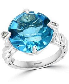 EFFY® Blue Topaz (12 ct. t.w.) & Diamond Accent Ring n Sterling Silver