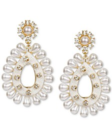 INC Gold-Tone Crystal & Imitation Pearl Thread-Wrapped Statement Earrings, Created for Macy's