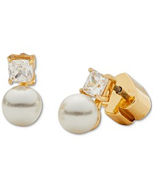 Gold-Tone Imitation Pearl and Stone Mini Stud Earrings