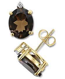 Smoky Quartz (4-1/2 ct. t.w.) & Diamond (1/20 ct. t.w.) Stud Earrings in 14k Gold