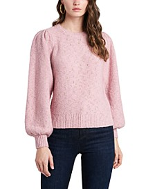 Fuzzy Metallic Puff-Shoulder Sweater