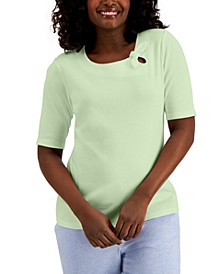 Cotton Tie-Detail Elbow-Sleeve Top, Created for Macy's