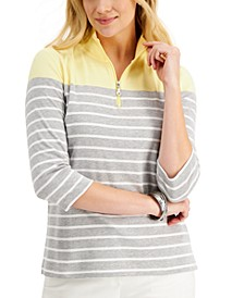 3/4-Sleeve Stripe Zip-Neck Top, Created for Macy's