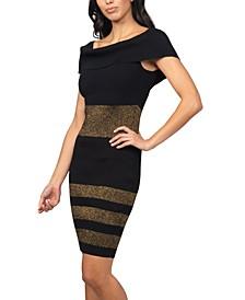 Metallic-Striped Sweater Dress
