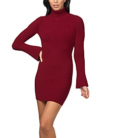 Bell-Sleeve Ribbed Sweater Dress
