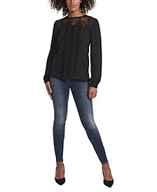 Women's Plus Size Long Sleeve Lace Yoke Pleated Front Blouse
