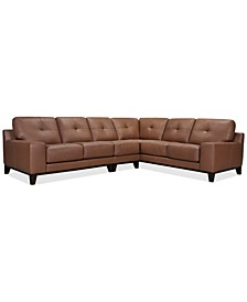 Harli 3-Pc. Leather Sectional, Created for Macy's