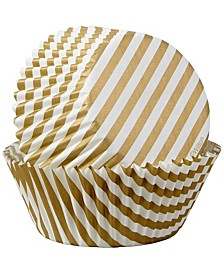 Gold Stripes Cupcake Liners, 50-Count