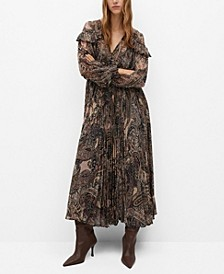 Women's Paisley Pleated Dress