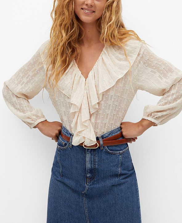 MANGO Women's Textured Ruffled Blouse