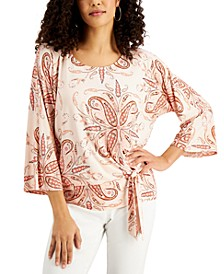 Printed 3/4-Sleeve Tie-Front Top, Created for Macy's