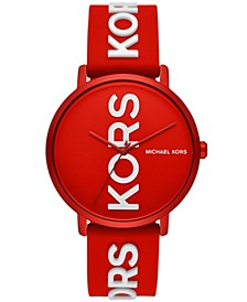 Womens Charley Three-Hand Red Orange Silicone Watch 42mm