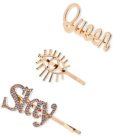 3-Pc. Gold-Tone Queen & Pavé Slay Bobby Pin Set, Created for Macy's