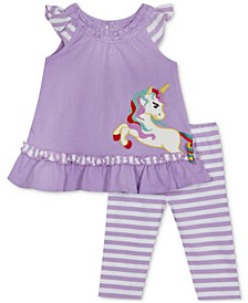 Baby Girls 2-Pc. Unicorn Tunic & Striped Leggings Set