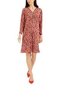 Petite Printed Zip-Detail Dress, Created for Macy's