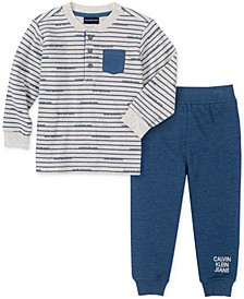 Baby Boys Henley Knit Top Pant Set