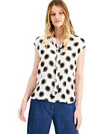 Dot-Print Tie-Neck Blouse, Created for Macy's