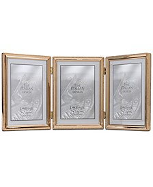 "Polished Metal Hinged Triple Picture Frame - Bead Border Design, 5"" x 7"""