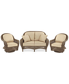 Sandy Cove Outdoor Wicker 3-Pc. Seating Set (1 Loveseat and 2 Swivel Gliders) Custom Sunbrella®, Created for Macy's