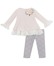 Toddler Girl Sweater Set With Lace Detail And Flower Applique Legging Set
