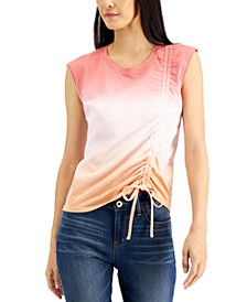 INC Petite Cotton Ombré Ruched Top, Created for Macy's