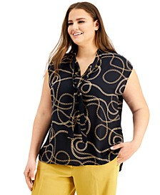 Trendy Plus Size Chain-Print Top, Created for Macy's