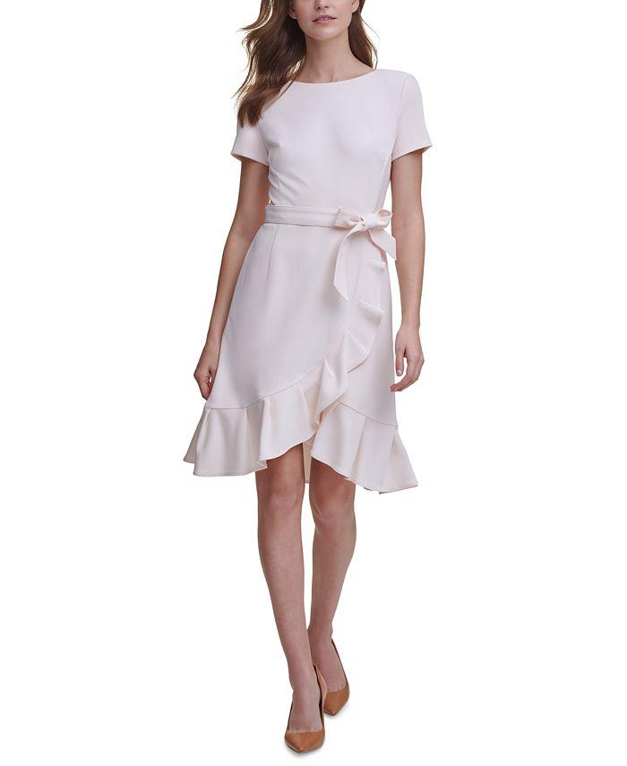 Calvin Klein - Petite Ruffled Tulip-Hem Crepe Dress