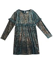 Little  Girl Foil Crushed Velvet Babydoll Dress With Ruffle Detail And Necklace