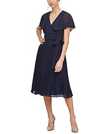 Flounce-Collar Pleated Midi Dress
