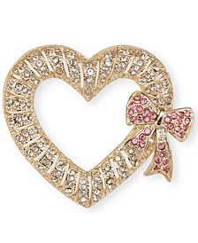 Gold-Tone Pavé Heart & Bow Pin, Created for Macy's