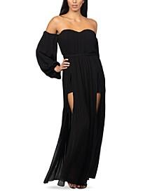 Off-The-Shoulder Slit-Skirt Maxi Dress