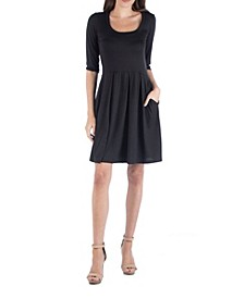 Women's 3/4 Sleeve Fit and Flare Mini Dress