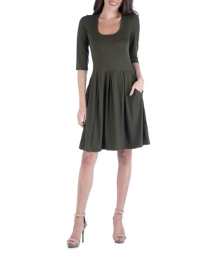 Womens 3/4 Sleeve Fit and Flare Mini Dress