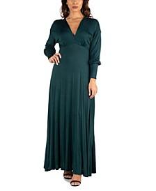 Women's V-Neck Long Sleeve Maxi Dress