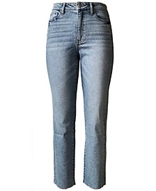 Juniors' Raw-Hem Mom Jeans