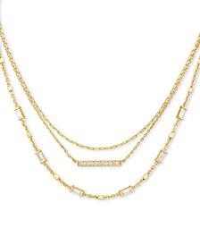 "14k Gold-Plated Pavé Bar & Baguette-Crystal Layered Necklace, 16"" + 2"" extender"