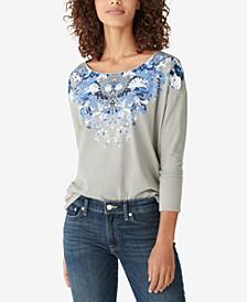 Drop-Shoulder Floral Long-Sleeve Graphic T-Shirt