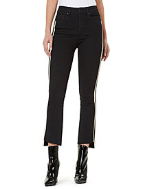 Numero High-Rise Side-Stripe Flare-Leg Cropped Jeans