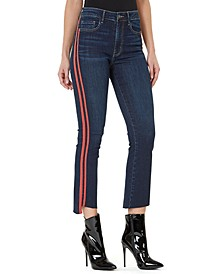 High-Rise Side-Stripe Cropped Flare-Leg Jeans