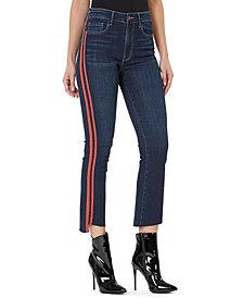 Numero High-Rise Side-Stripe Cropped Flare-Leg Jeans