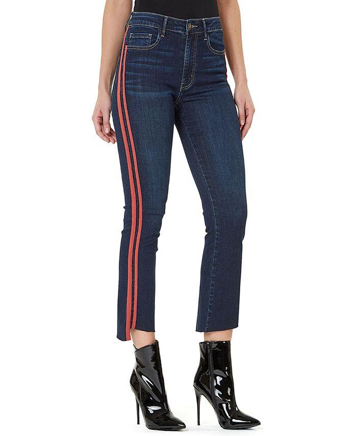 Numero - High-Rise Side-Stripe Cropped Flare-Leg Jeans