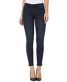 Mid-Rise Side-Stripe Skinny Ankle Jeans